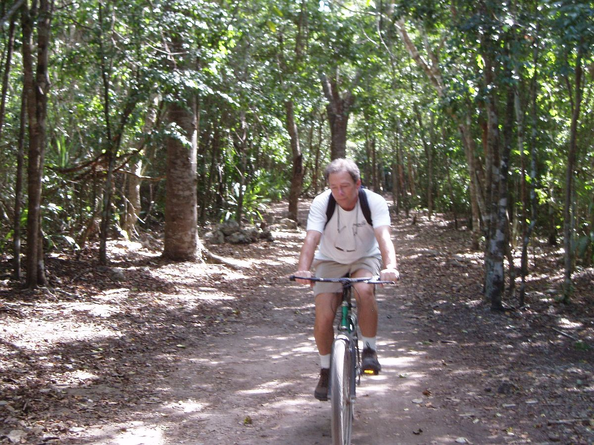 Coba bicycling on a 1200 year old Sacbe
