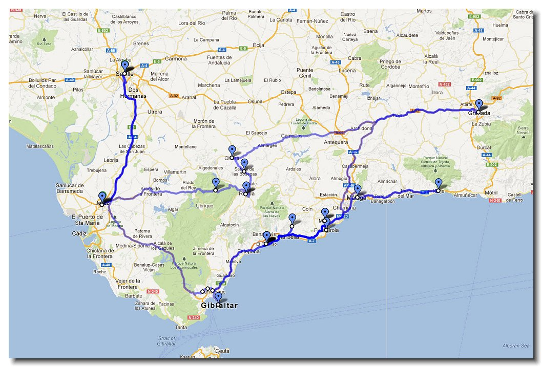Spain driving route on this trip