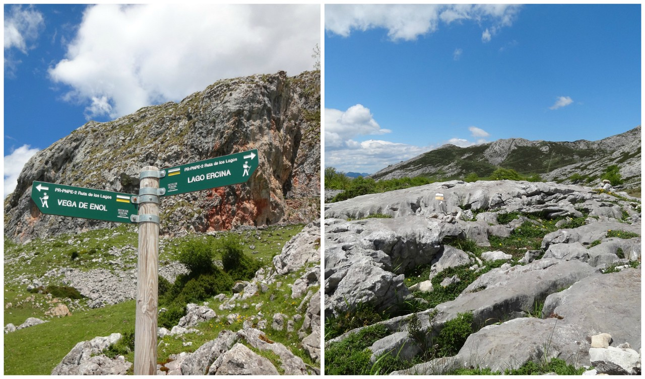 Covadonga Lakes trail markers