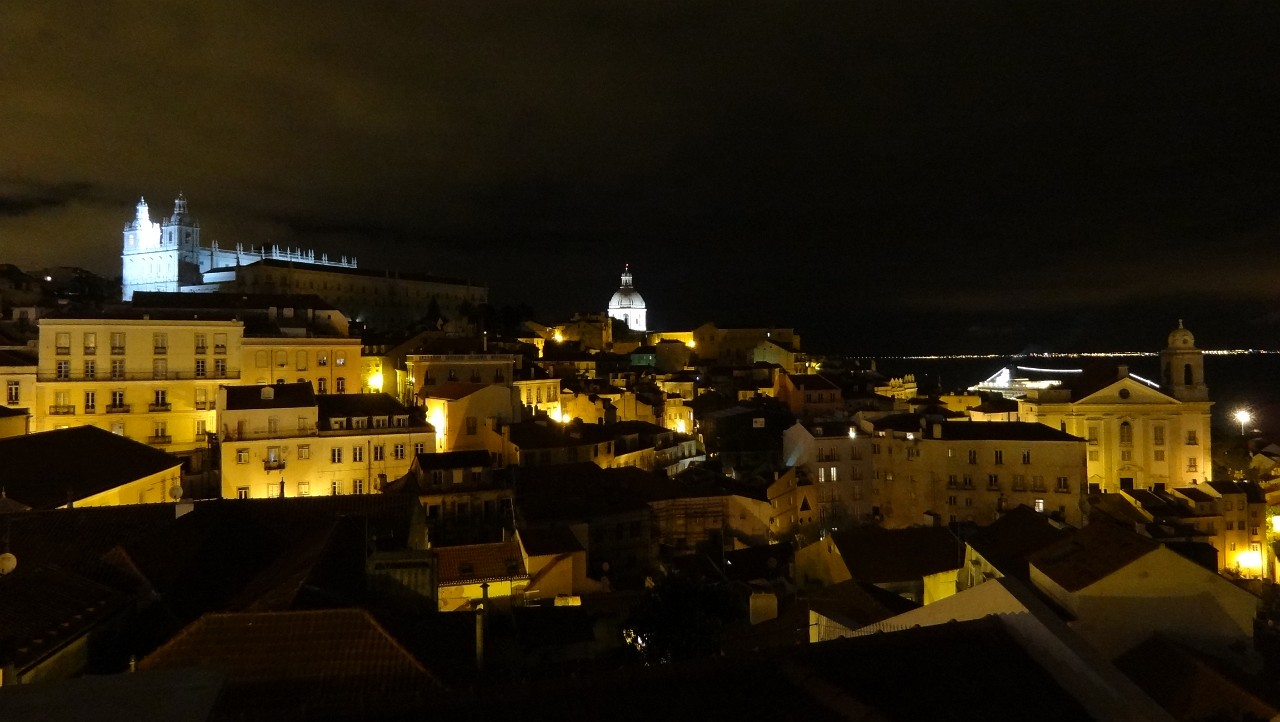 Night view of the Alfama from Largo Das Portas Do Sol