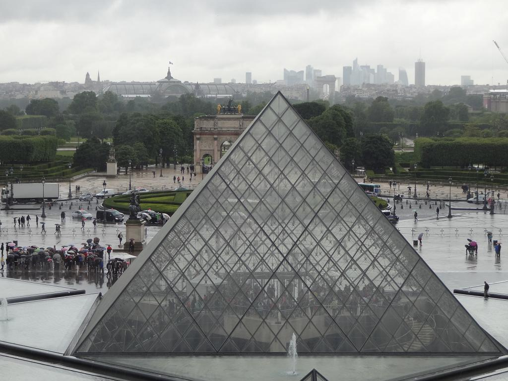 The line to enter the Louvre through the pyramid