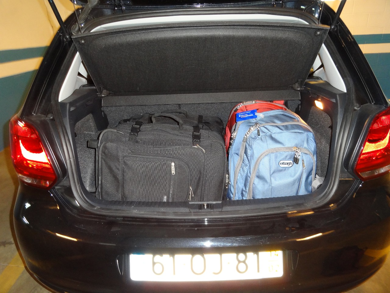 VW Polo trunk space - enough for 2 carry ons and 2 big laptop bags