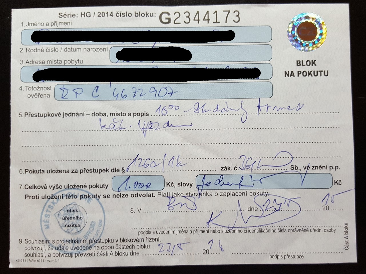 Czech traffic ticket receipt
