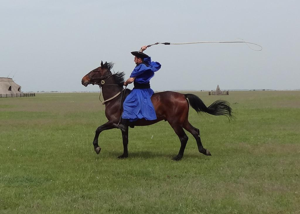 Riding at a canter and cracking the whip