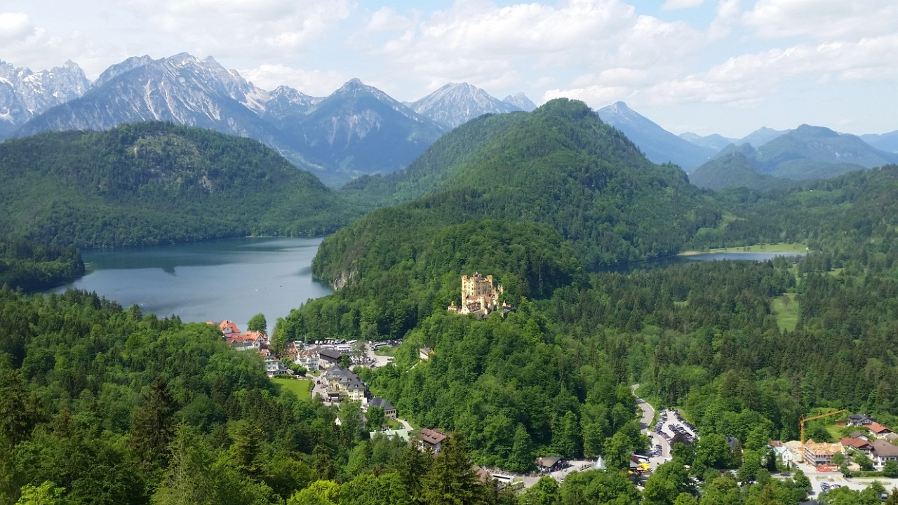 Hohenschwangau and the alps from the terrace at Neuschwanstein
