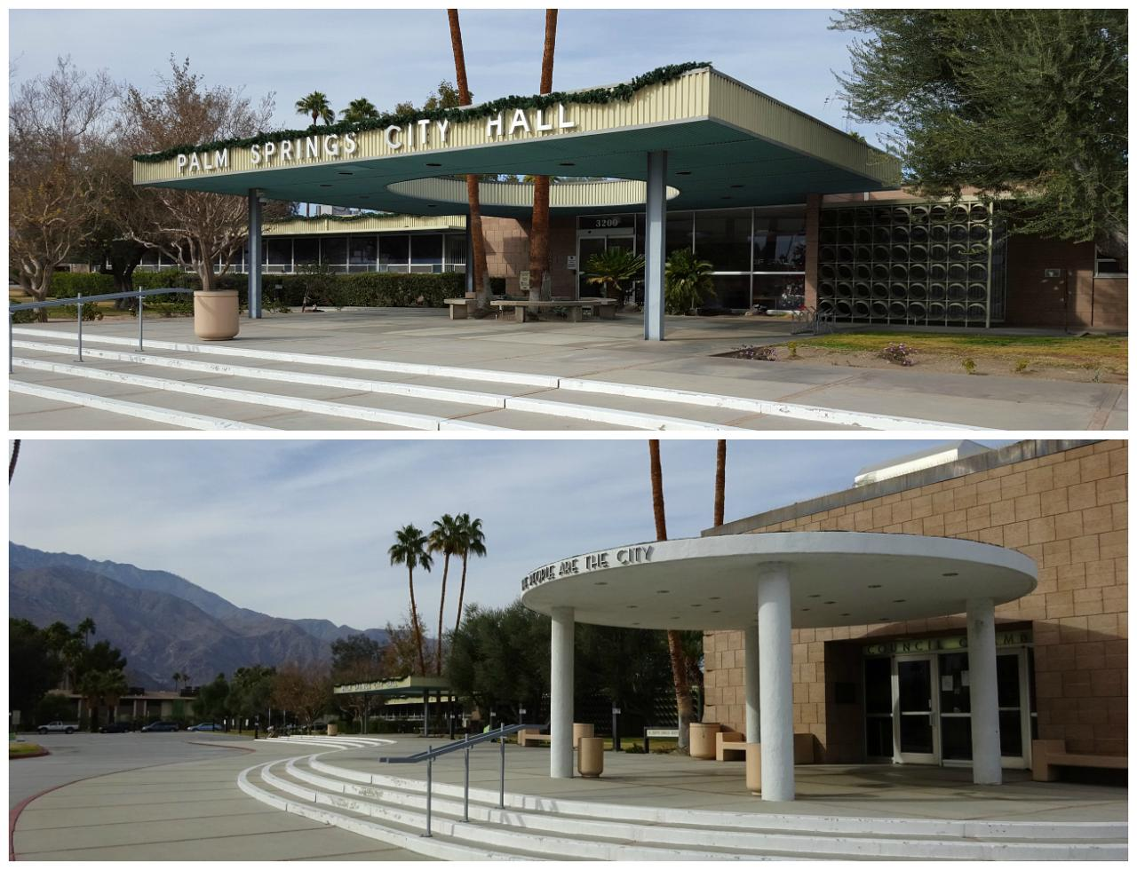 Palm Springs City Hall entrance and council chamger