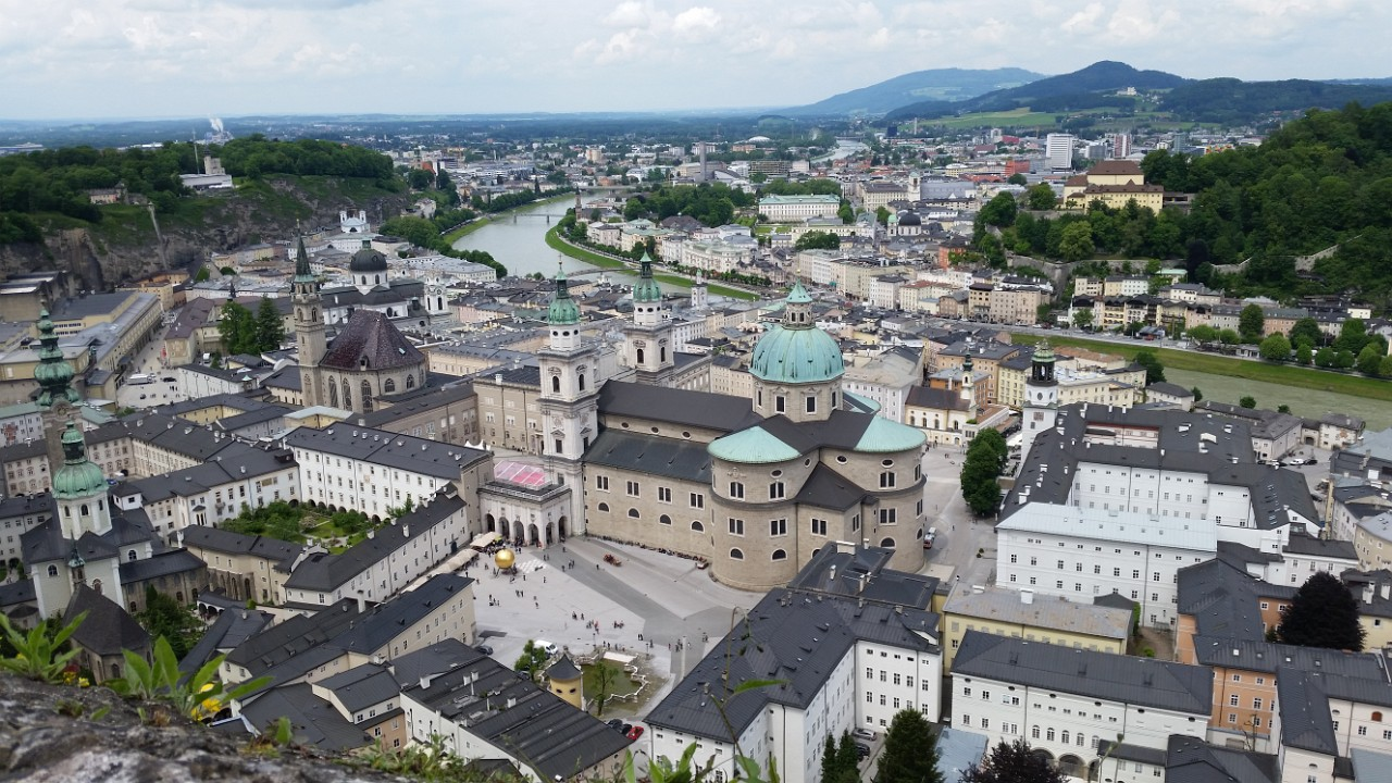 Peering down onto the Salzburg Cathedral from the into the Hohensalzburg Fortress