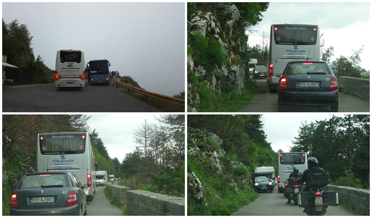 Buses versus campers on Kotor to Cetinje road