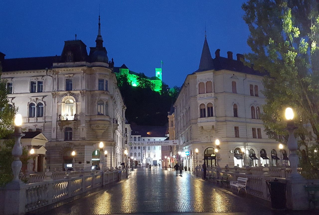 Ljubljana Castle from triple bridge