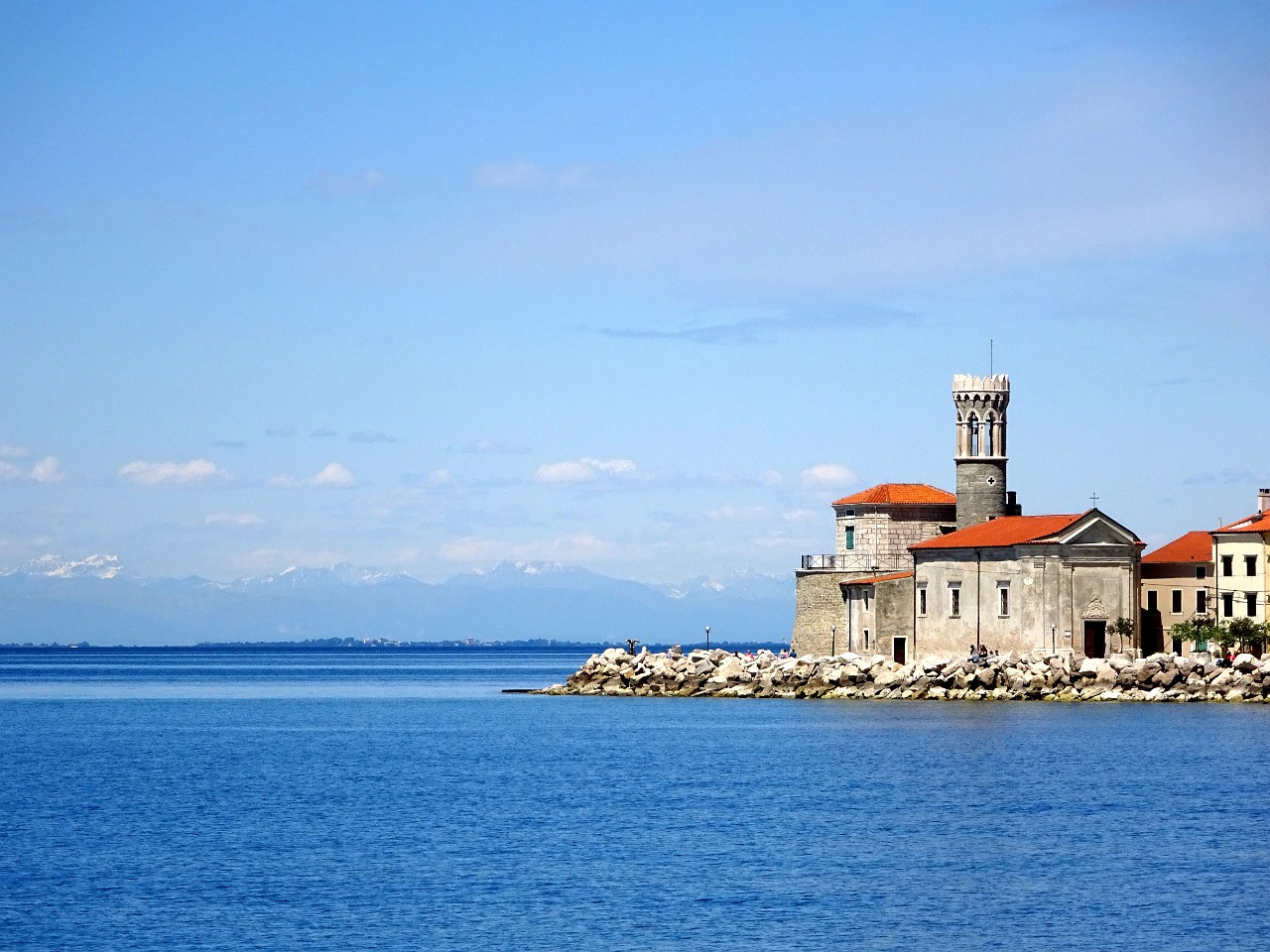 Piran lighthouse and church
