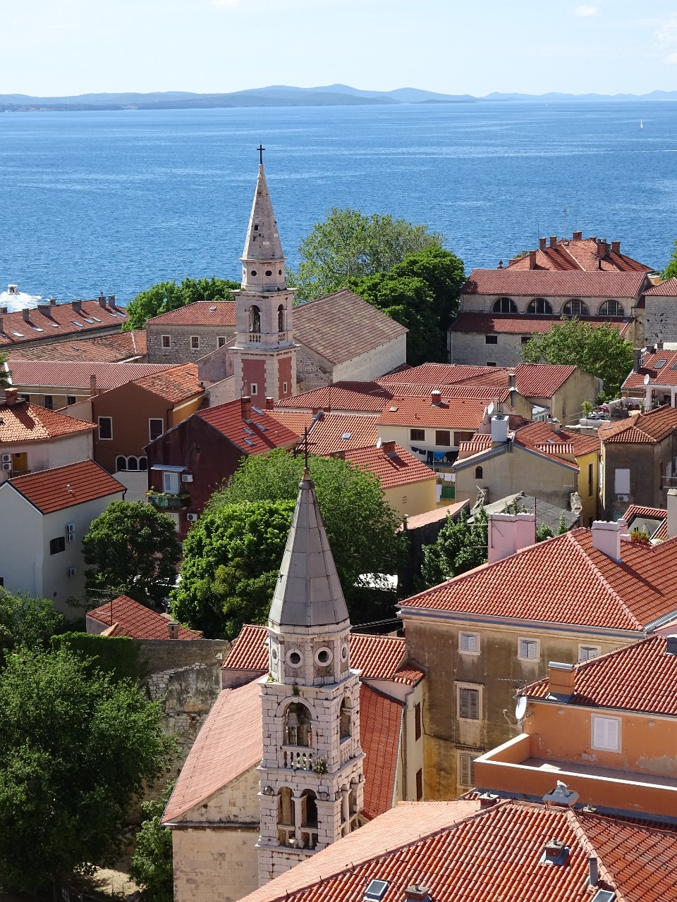 Zadar church steeples from the Saint Anastasia Bell Tower