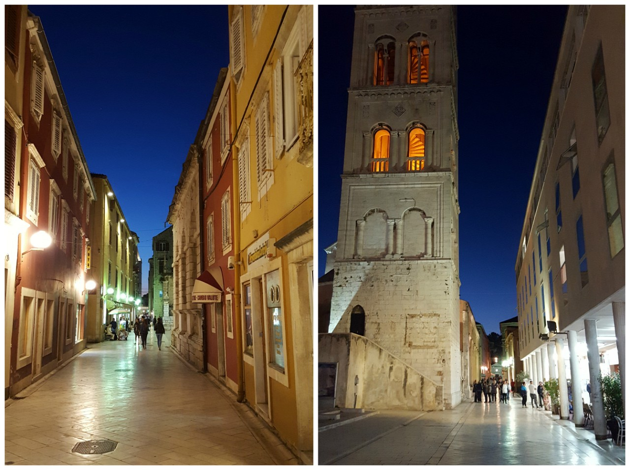 Zadar main street at night