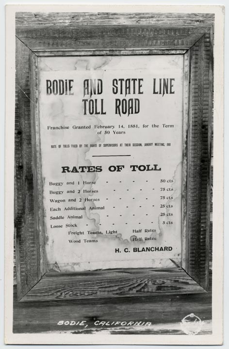 Bodie to State Line Toll rates Hank Blanchard
