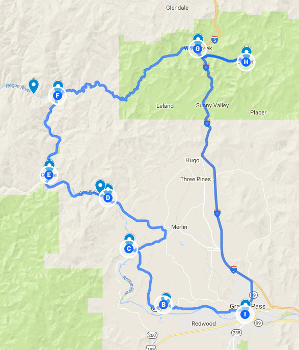 Rogue River scenic drive map
