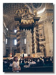 Rebecca Snyder in St. Peters with Bernini's canopy
