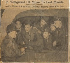 104th Medical regiment leaves Armory for post February 6 1941