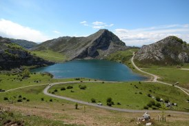 Panorama View of the Covadonga Lakes Ercina and Enol